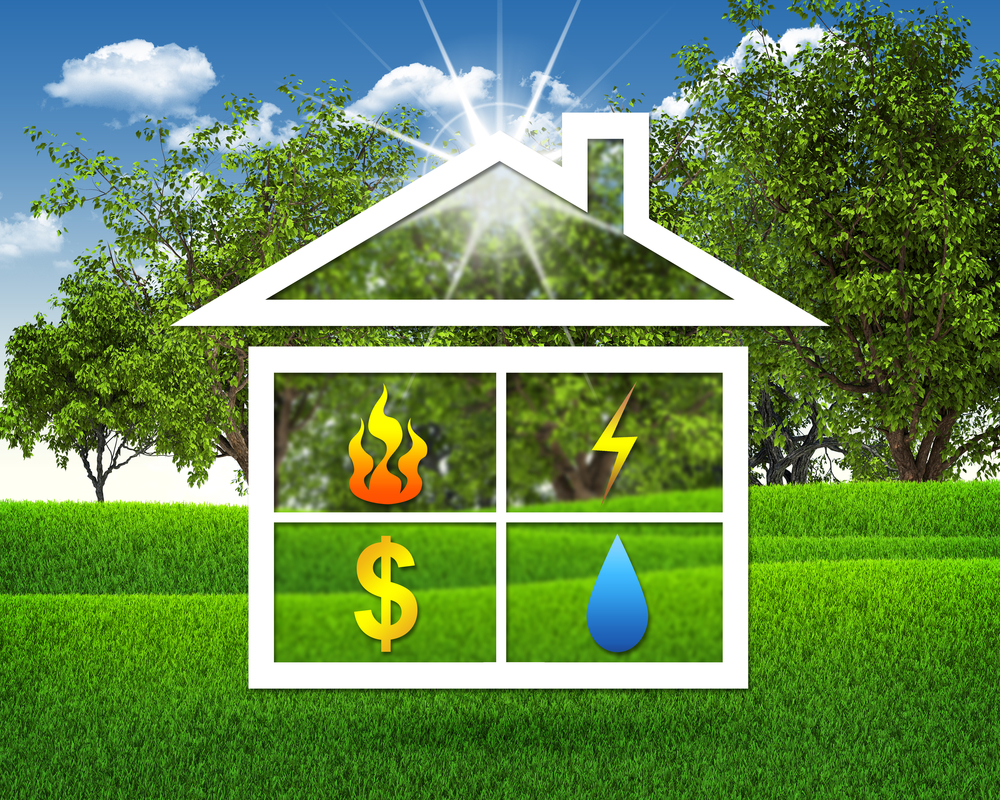 White icon of a home superimposed over a grassy park with large leafy trees on a sunny day, representing spring savings on energy.