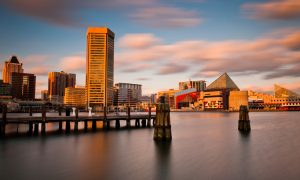 Skyline of Maryland's Baltimore Inner Harbor.