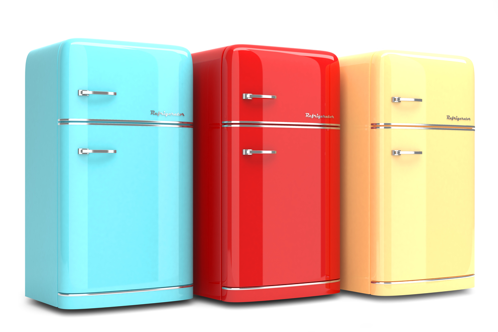 Blue, red and yellow retro refrigerators. Replacing, repurposing or retiring inefficient appliances can save you money on your utility bills.